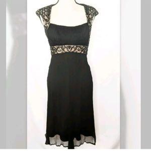 Tadashi Shoji Petites Beaded silk dress, black, 6P